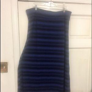 Sharp blue & black stripe A-line maxie skirt.